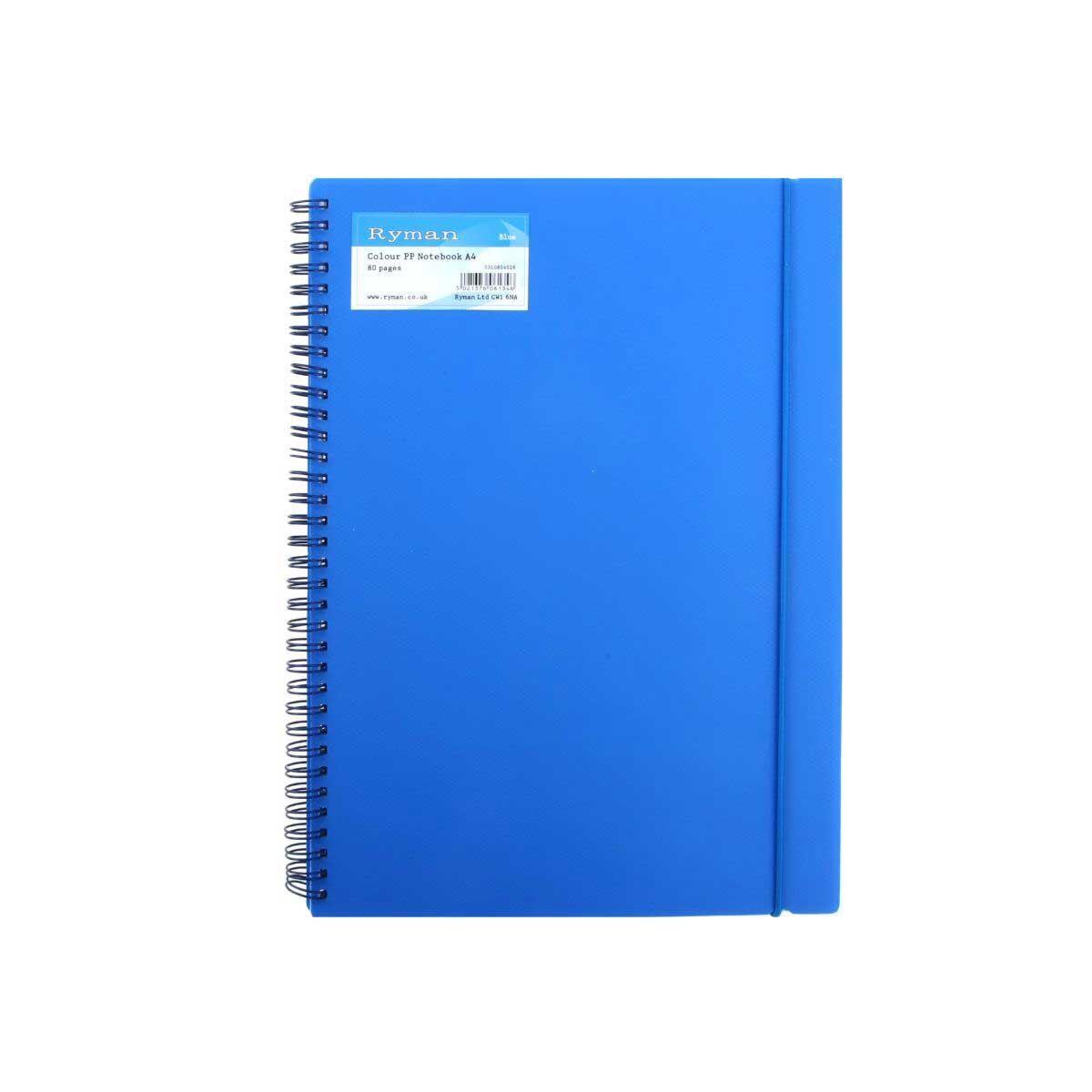 Ryman Colour Polypropylene Notebook A4 Pack 6 Blue