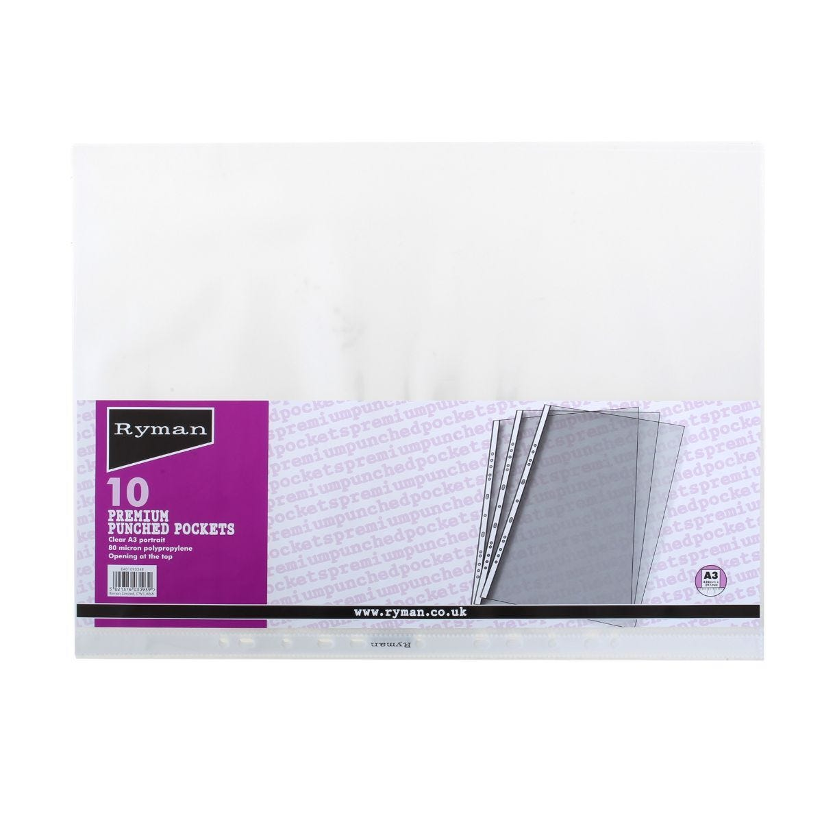 Ryman Premium Punched Pockets A3 80 Micron Pack of 10 Portrait