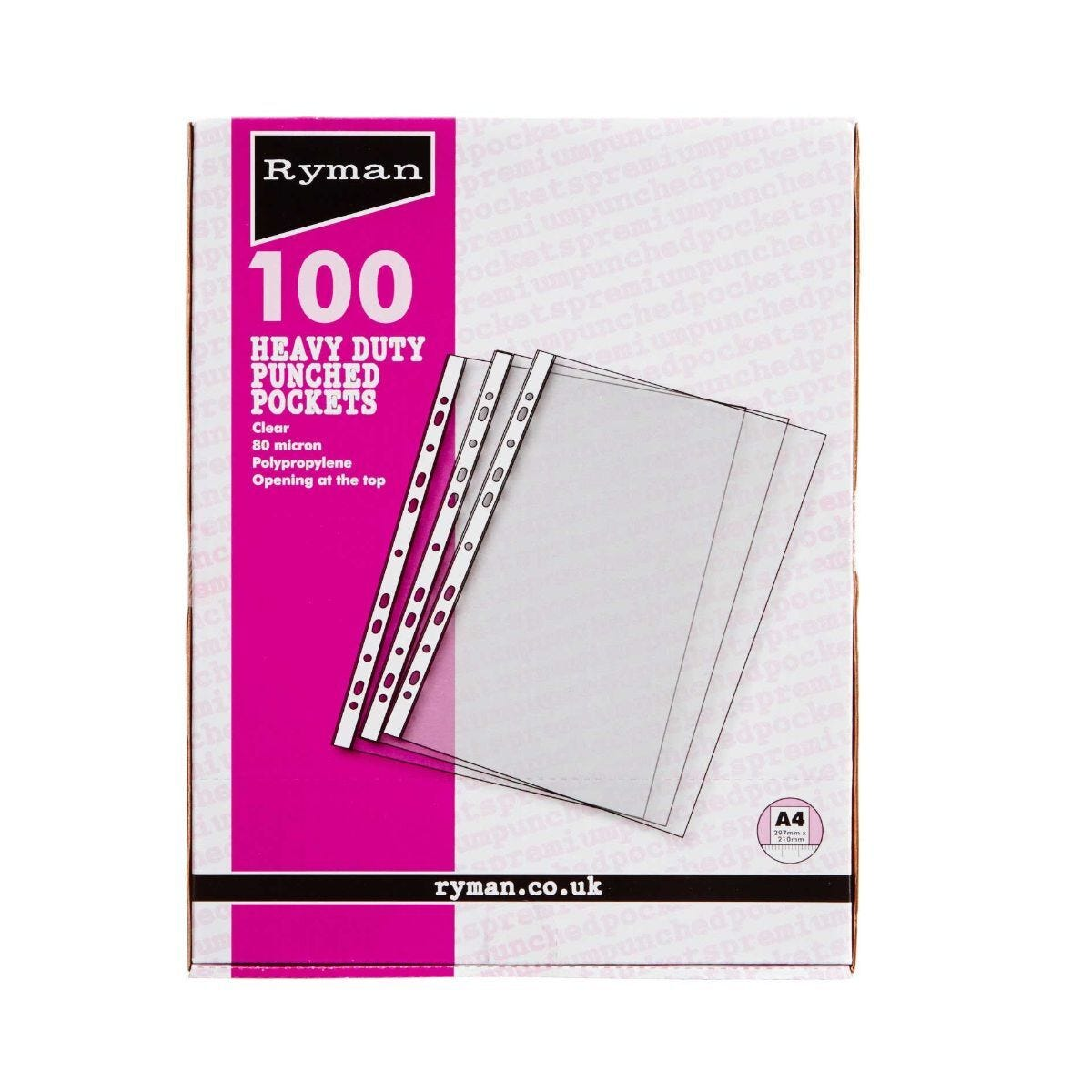 Ryman Premium Pockets Pack of 100 A4 80 Micron Clear