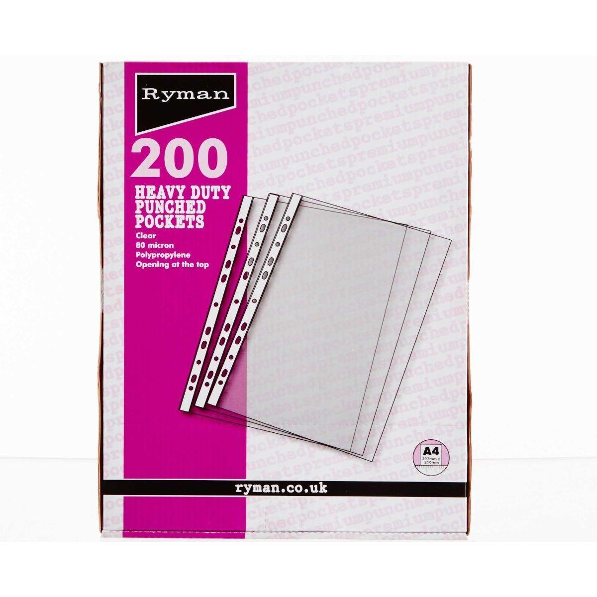 Ryman Premium Pockets Pack of 200 A4 80 Micron Clear