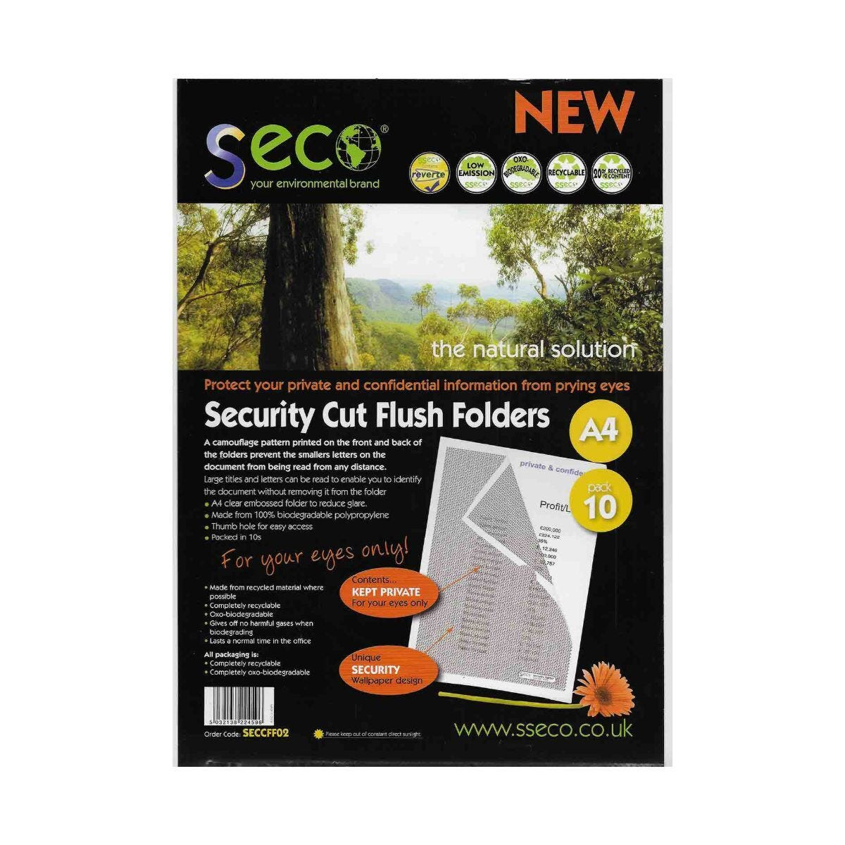 Seco Biodegradable Security Cut Flush Folder A4 Pack of 10