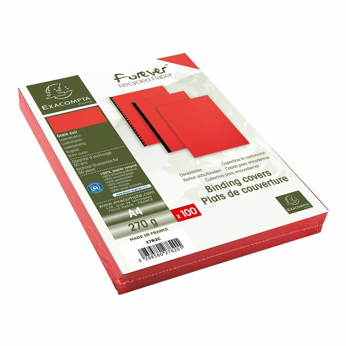 Exacompta Forever Leather Grain Covers A4 Pack of 400 Red