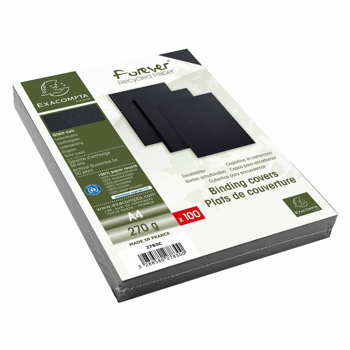 Exacompta Forever Leather Grain Covers A4 Pack of 400 Black