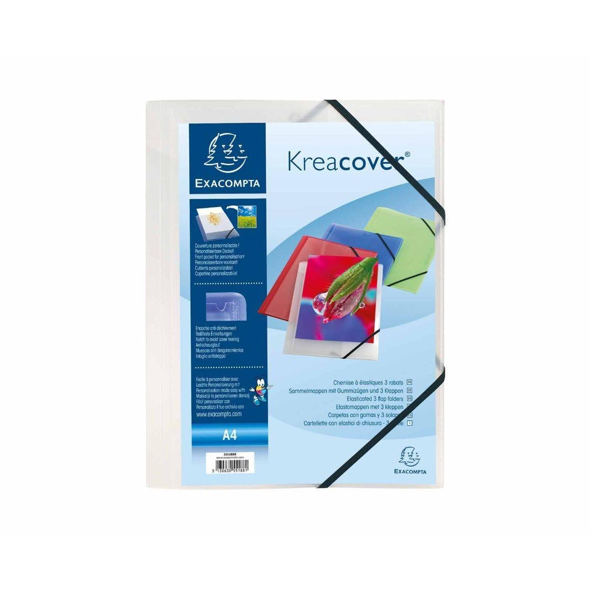 Exacompta Kreacover 3 Flap Folder A4 Pack of 25 Clear
