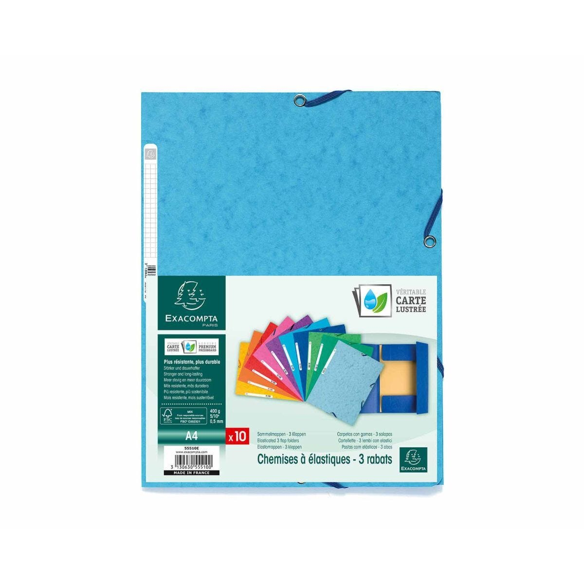 Exacompta Europa 3 Flap Elastic Folder A4 Pack of 50 400gsm 10 Assorted Colours