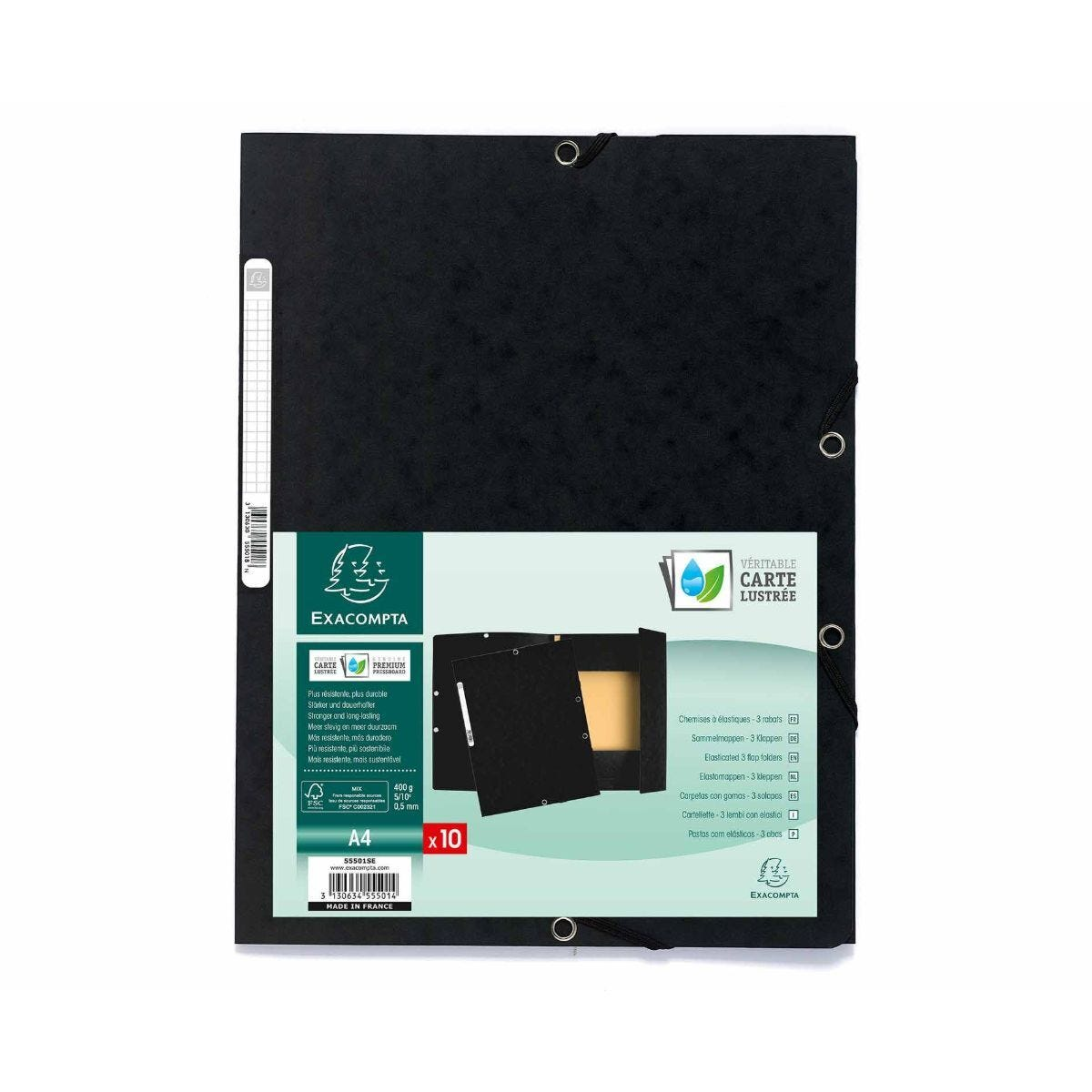 Exacompta Europa 3 Flap Elastic Folder A4 Pack of 50 400gsm Black