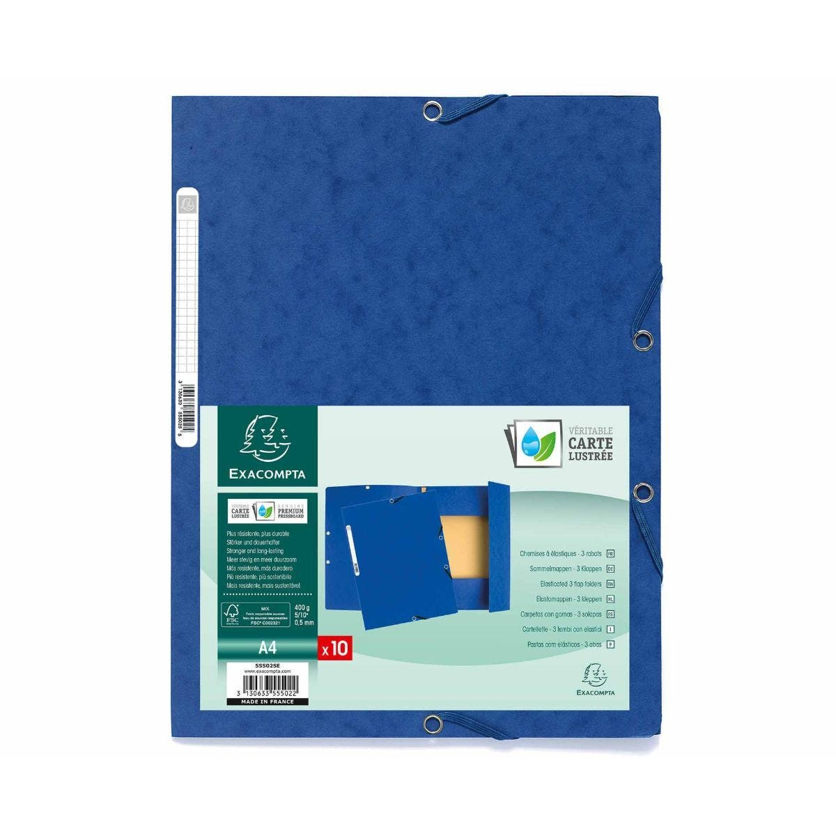 Exacompta Europa 3 Flap Elastic Folder A4 Pack of 50 400gsm Blue