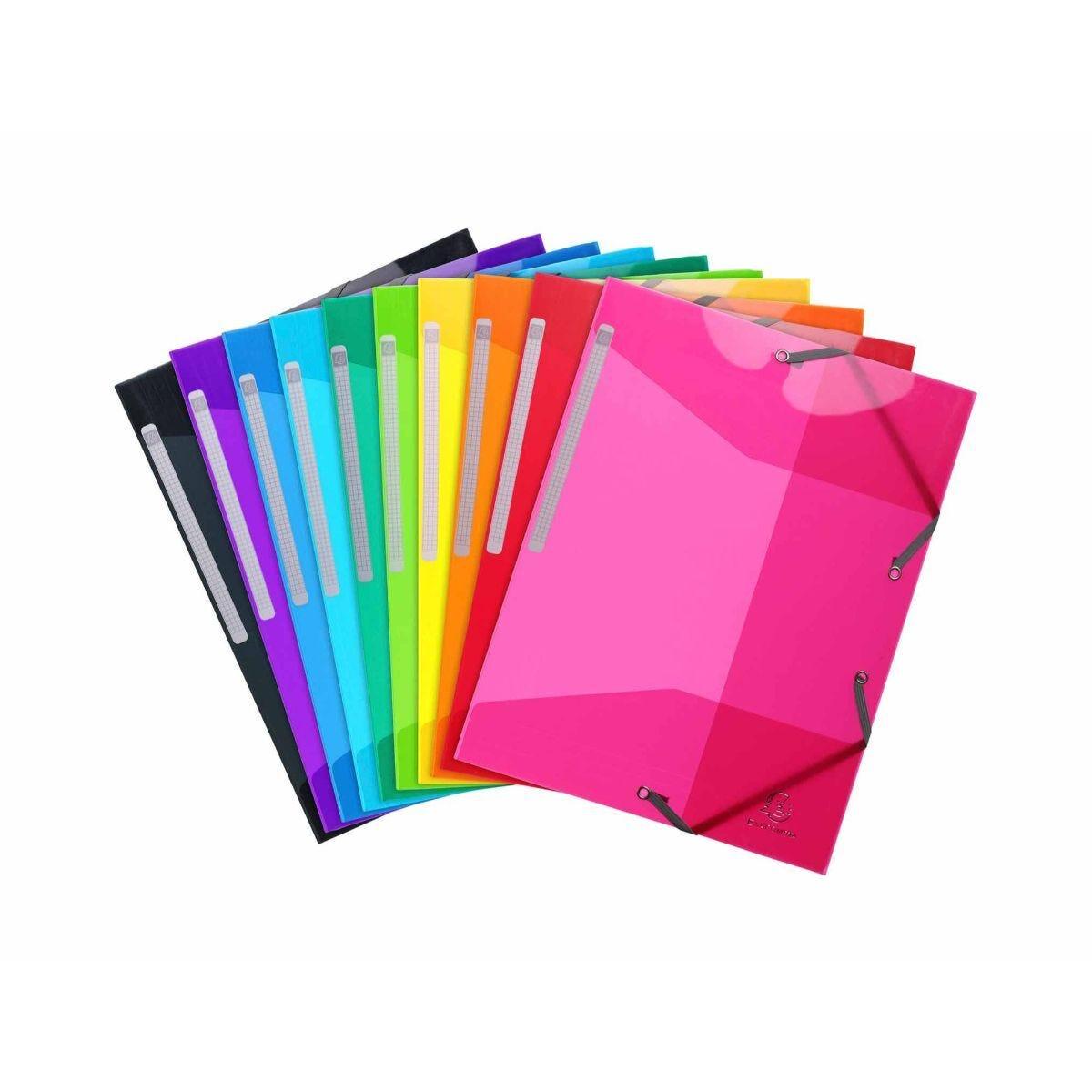 Exacompta Iderama Elastic 3 Flap Folder A4 Pack of 25 Assorted