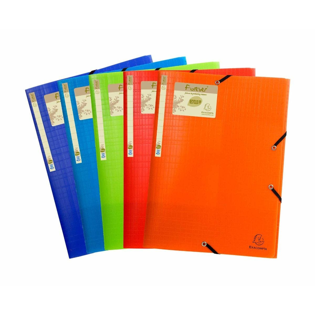 Exacompta Forever Elastic 3 Flap Folder A4 Pack of 15 Assorted