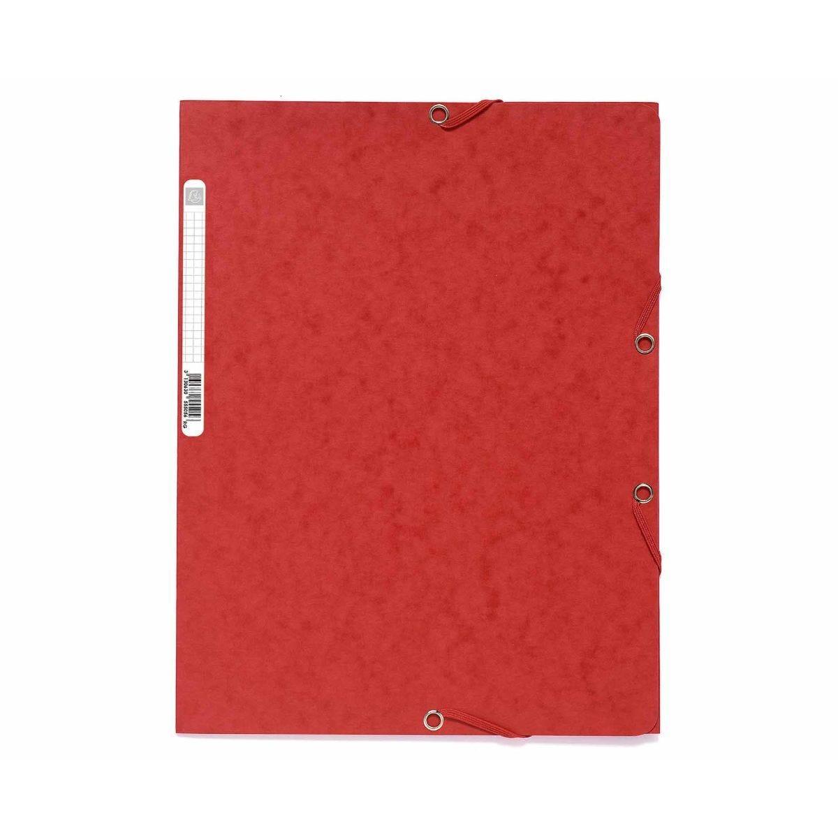 Exacompta Europa Elastic 3 Flap Folder A4 Pack of 25 Red