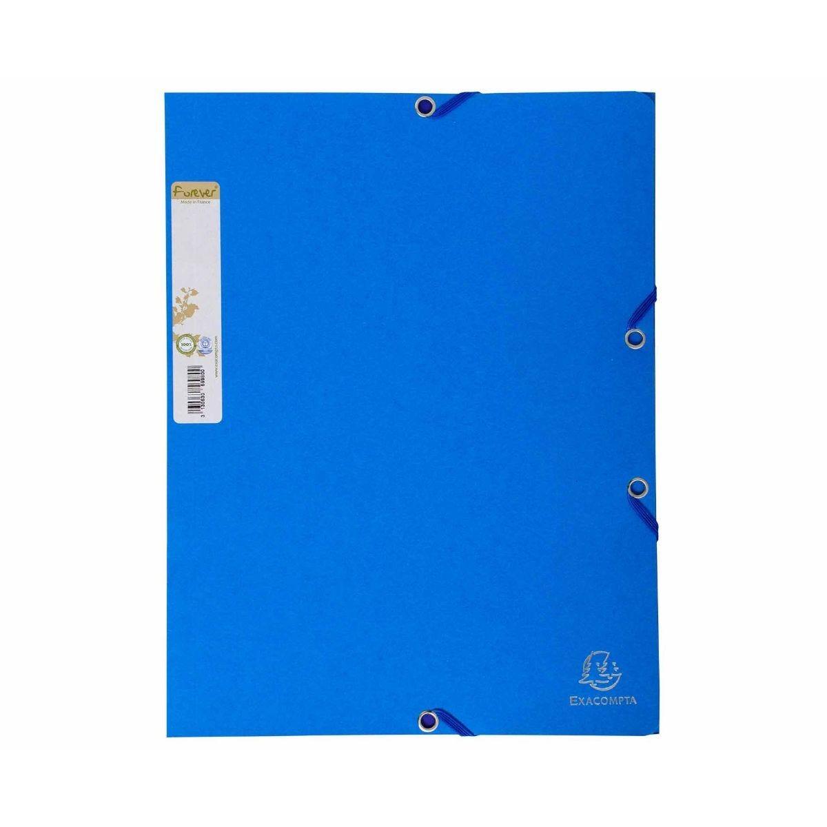 Exacompta Forever Elastic 3 Flap Folder A4 Pack of 25 Light Blue