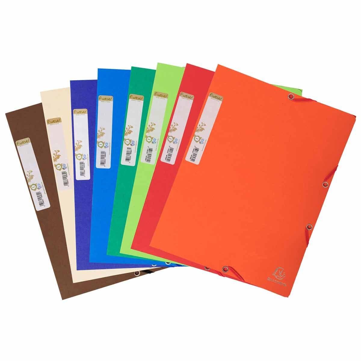 Exacompta Forever Elasticated 3 Flap Folder A4 380gsm Pack of 25