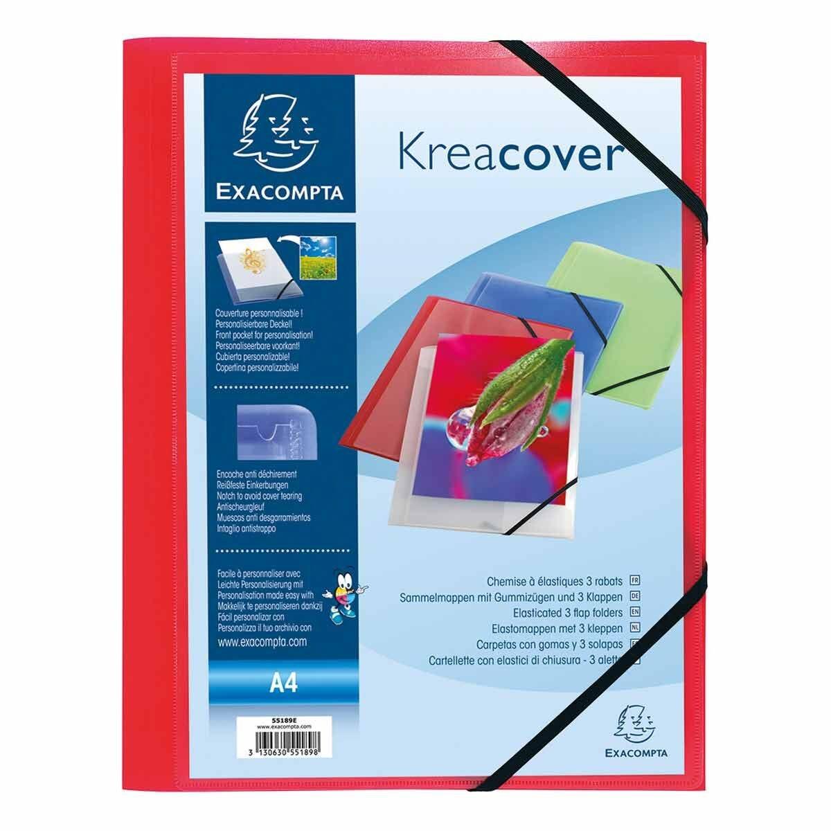 Exacompta Kreacover Elasticated 3 Flap Folder A4 Pack of 25