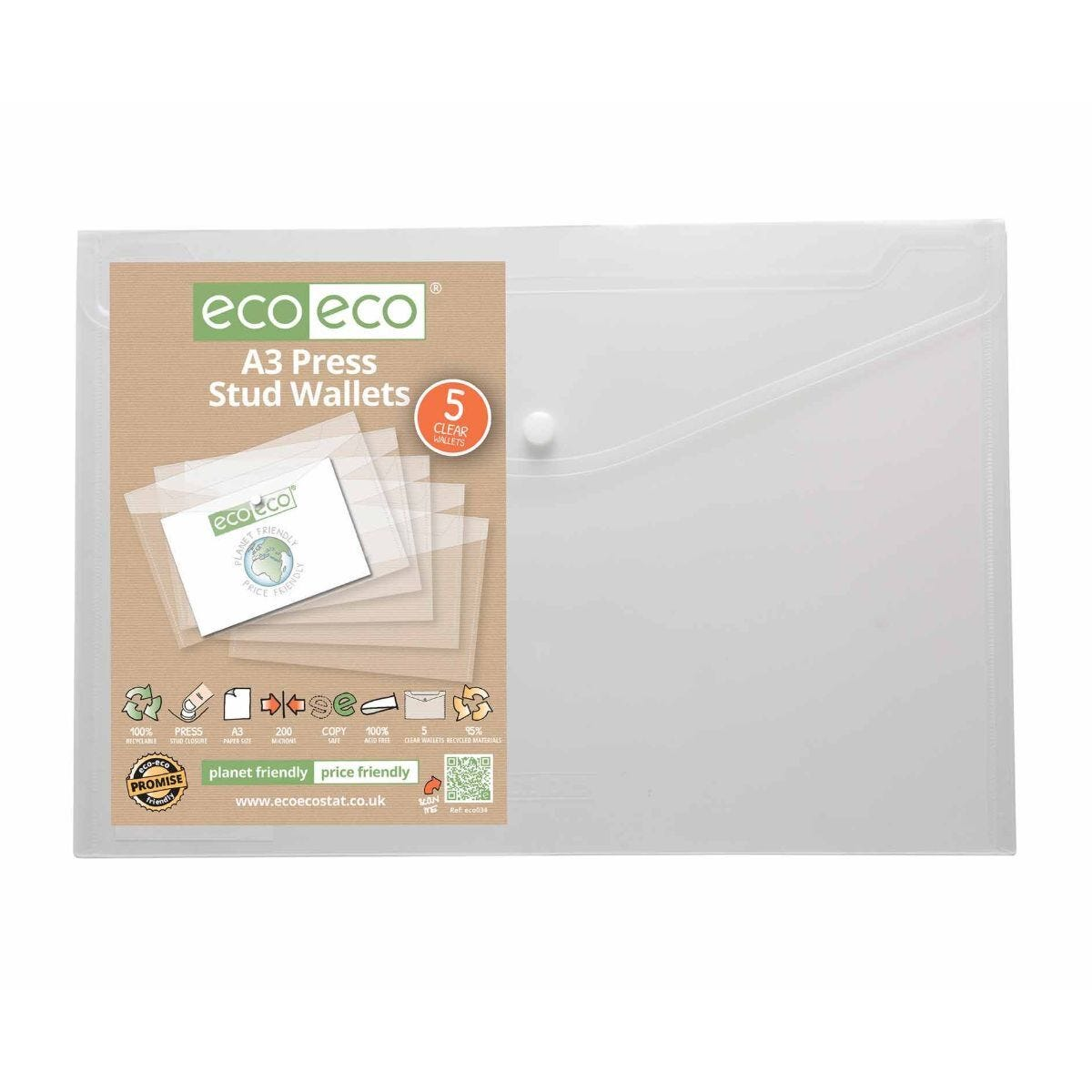 Eco-eco Press Stud Wallets A3 Pack of 5