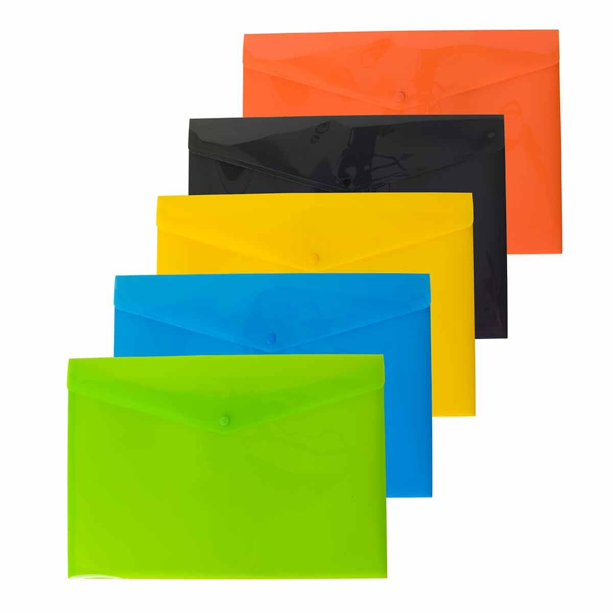 eco eco Colour Press Stud Wallets A3 Pack of 5