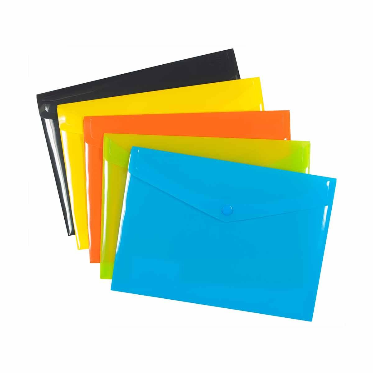 eco eco Colour Press Stud Wallets A5 Pack of 5 Assorted