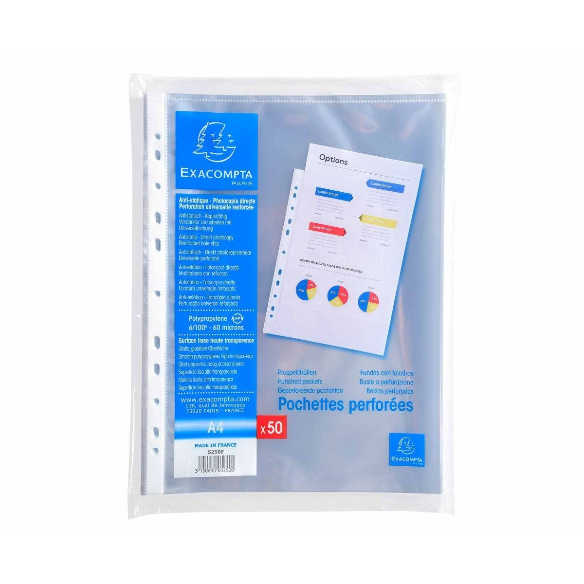 Exacompta Punch Pockets 20 packs of 50 A4 60 Micron Clear