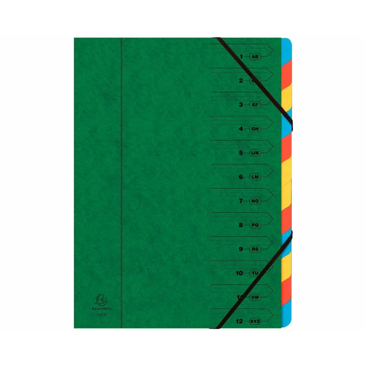 Exacompta Europa Multi File 12 Part Card Dividers A4 400gsm Pack of 8 Green