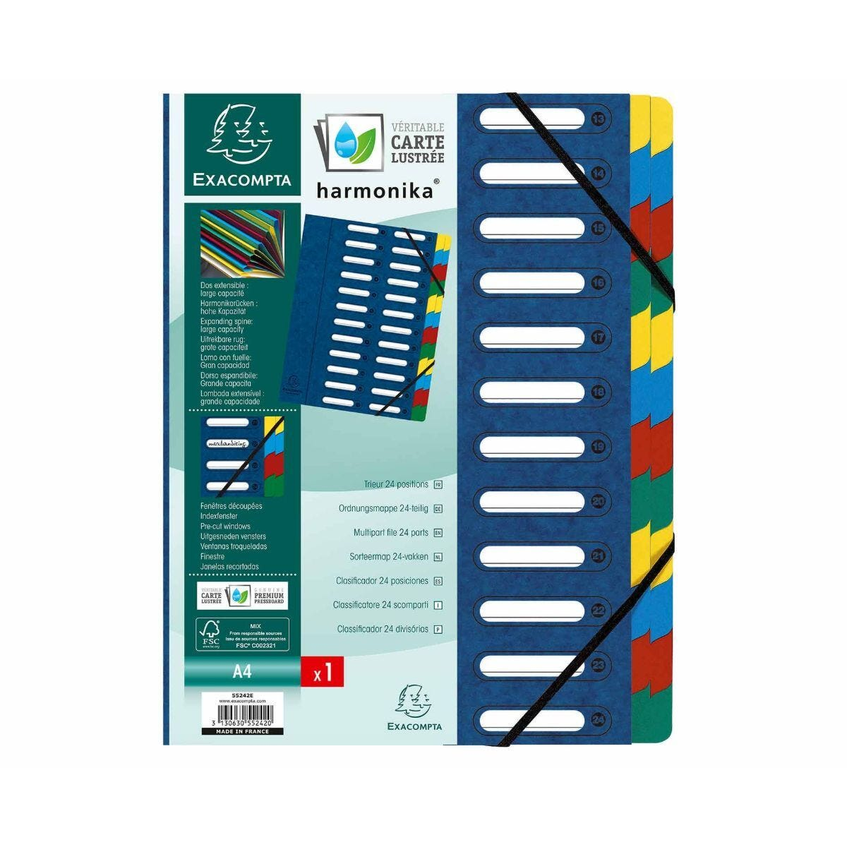 Exacompta Harmonika Multi File 24 Part A4 425gsm Pack of 4 Blue