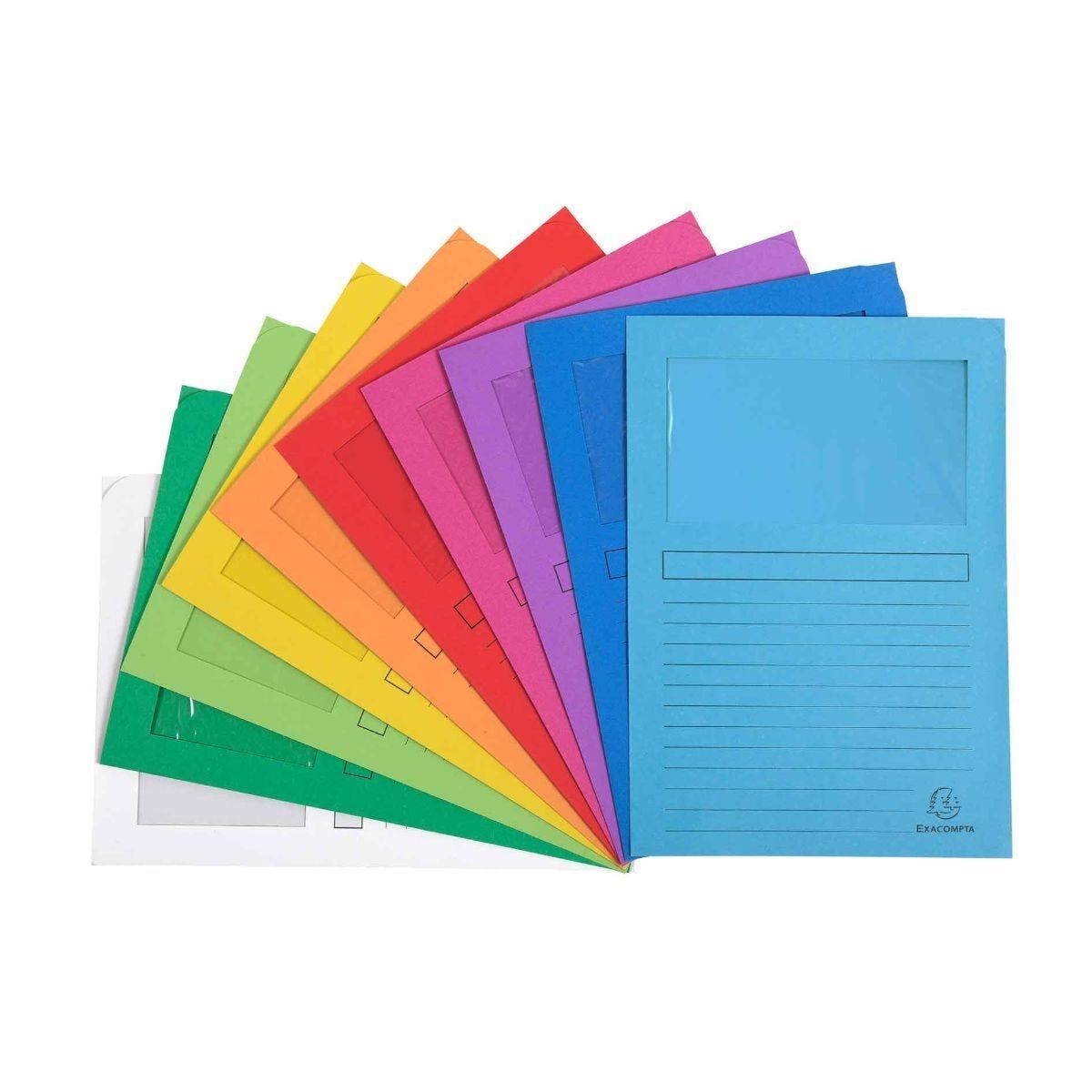 Exacompta Forever Window Folders A4 16 Packs of 25 Assorted
