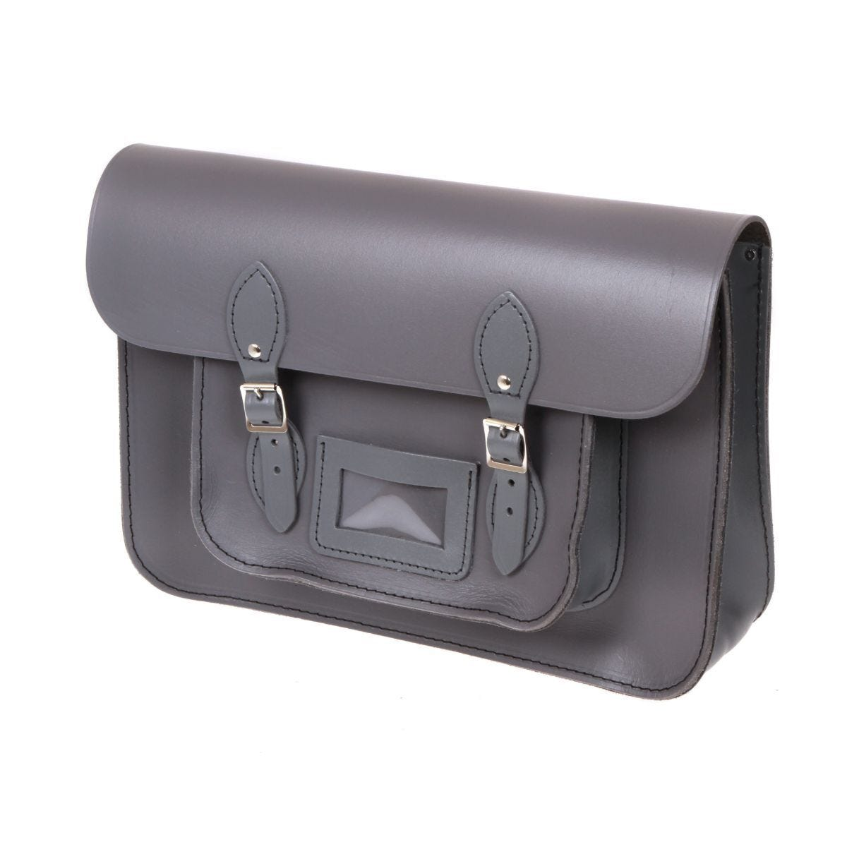 British Made Recycled Leather Satchel Grey