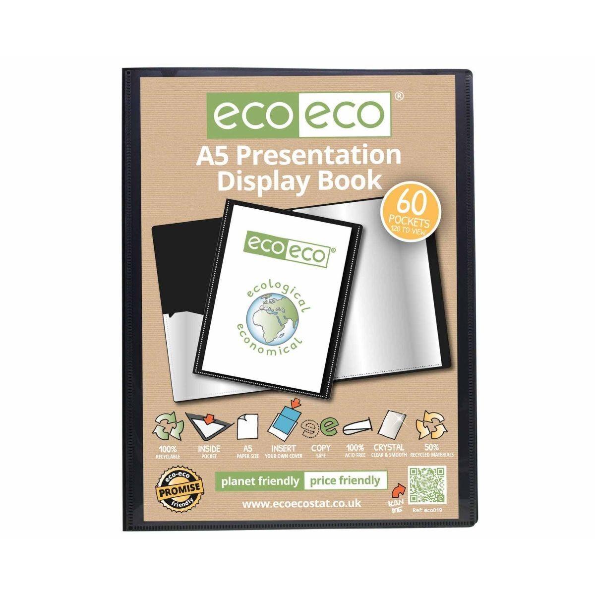 eco eco Presentation Display Book 60 Pocket A5 Black