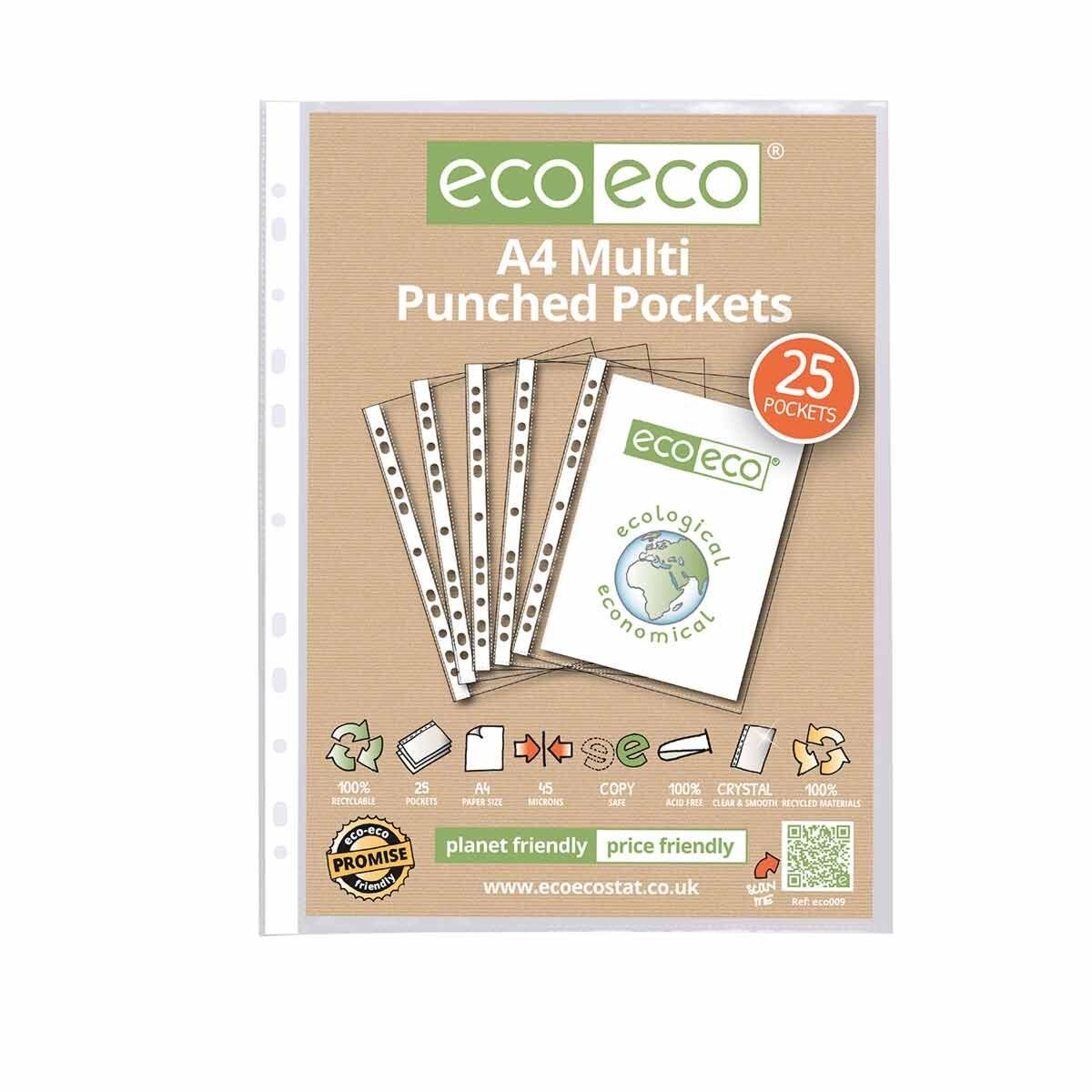 eco eco Multi-Punched Pockets A4 Pack of 25