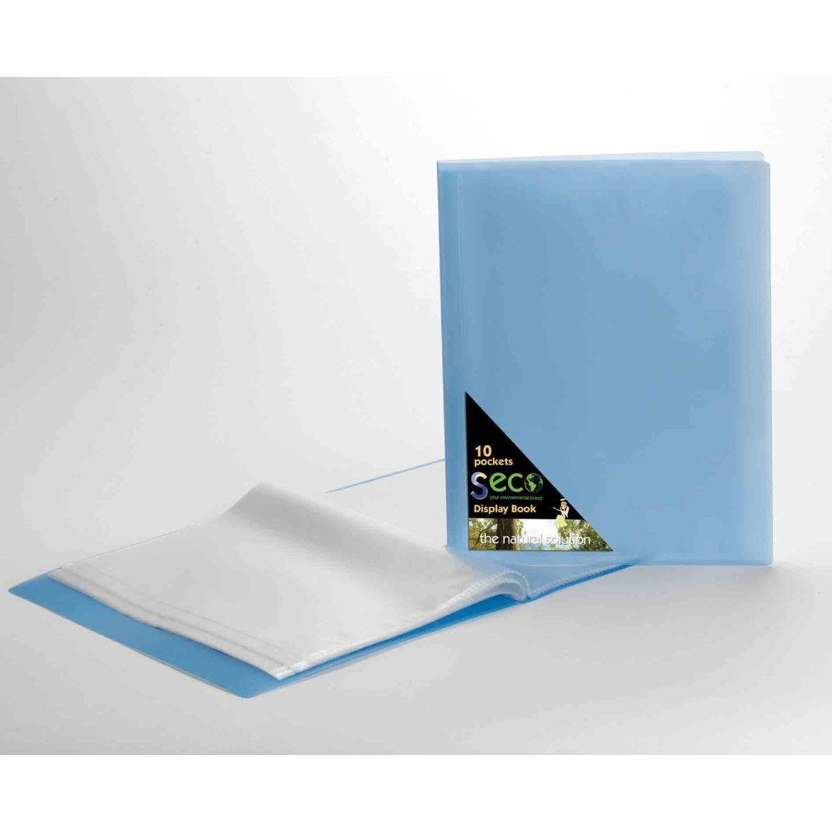 Seco Biodegradable Display Book A4 10 Pockets Blue