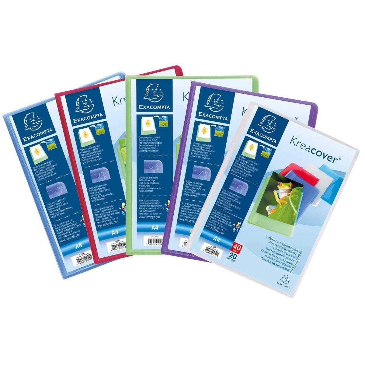 Exacompta Kreacover A4 Display Book 20 Pocket Pack of 20 Assorted