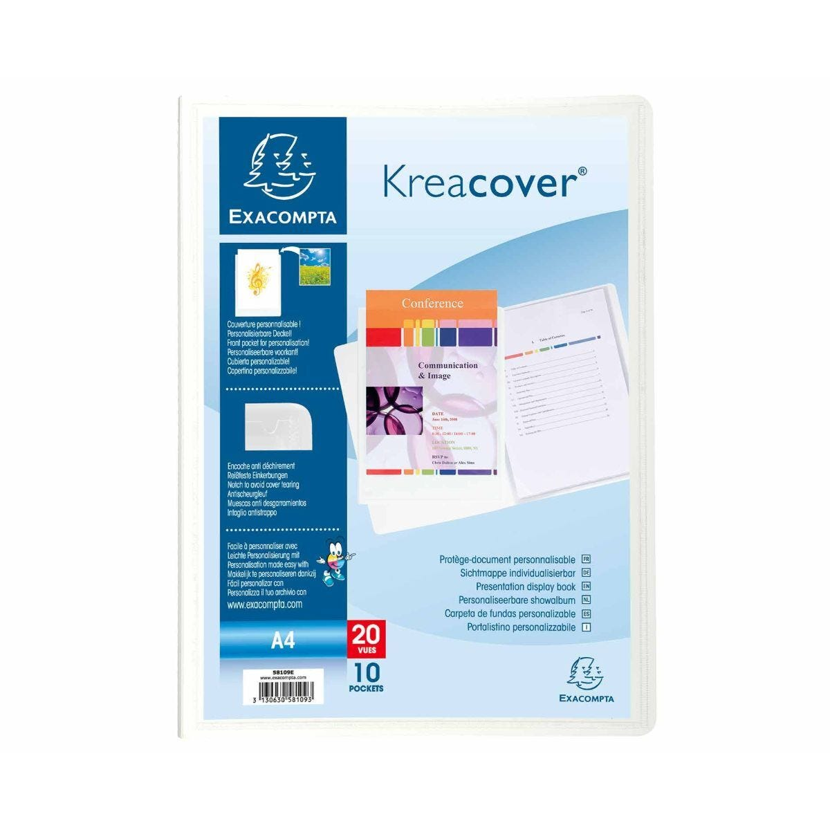 Exacompta Kreacover A4 Display Book 10 Pocket Pack of 20 White