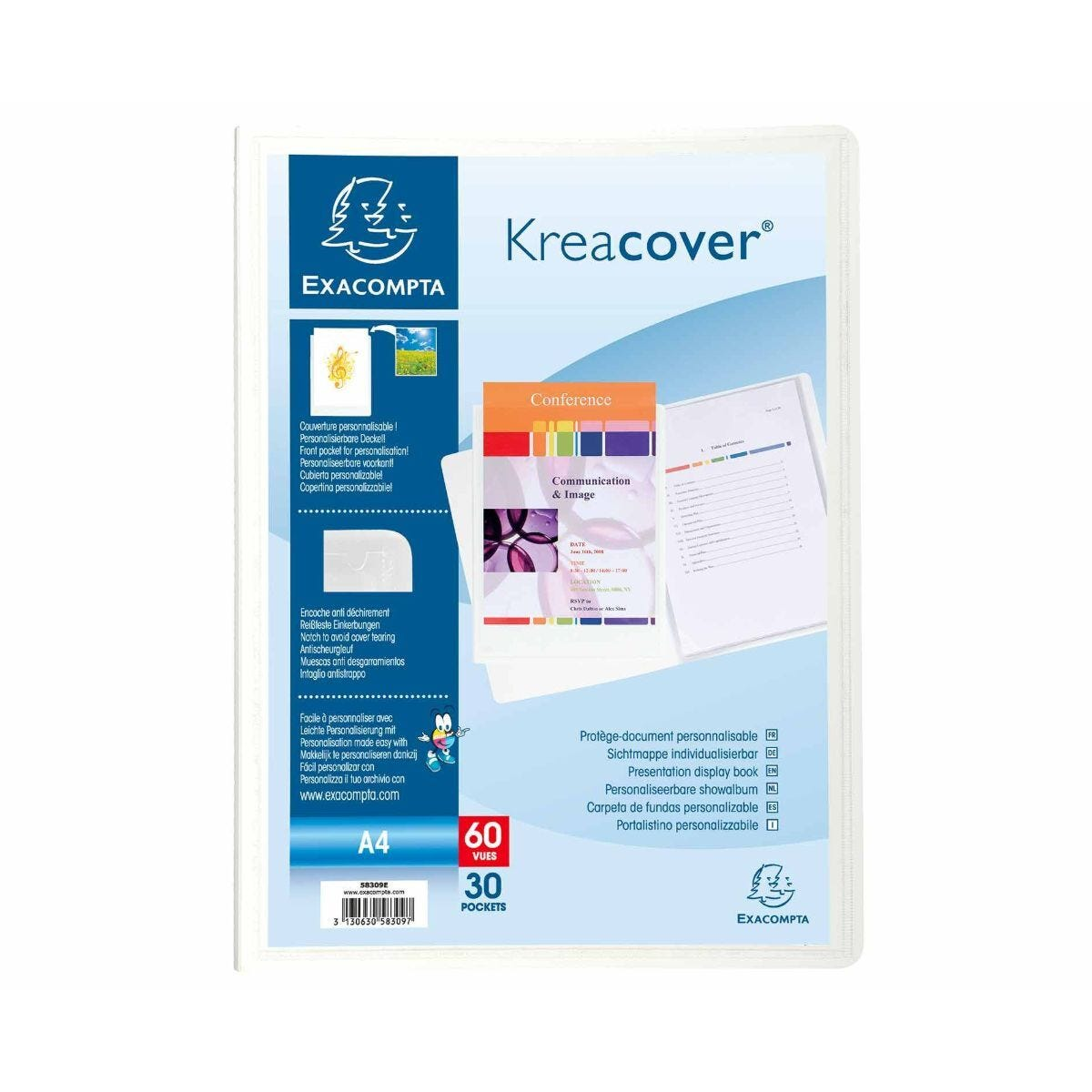 Exacompta Kreacover A4 Display Book 30 Pocket Pack of 12 White