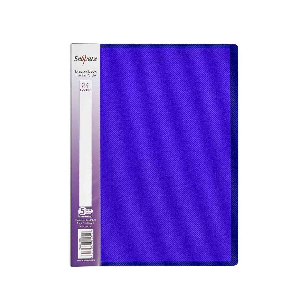 Snopake Polyfile Display Book A4 24 Pocket Pack of 5 Purple