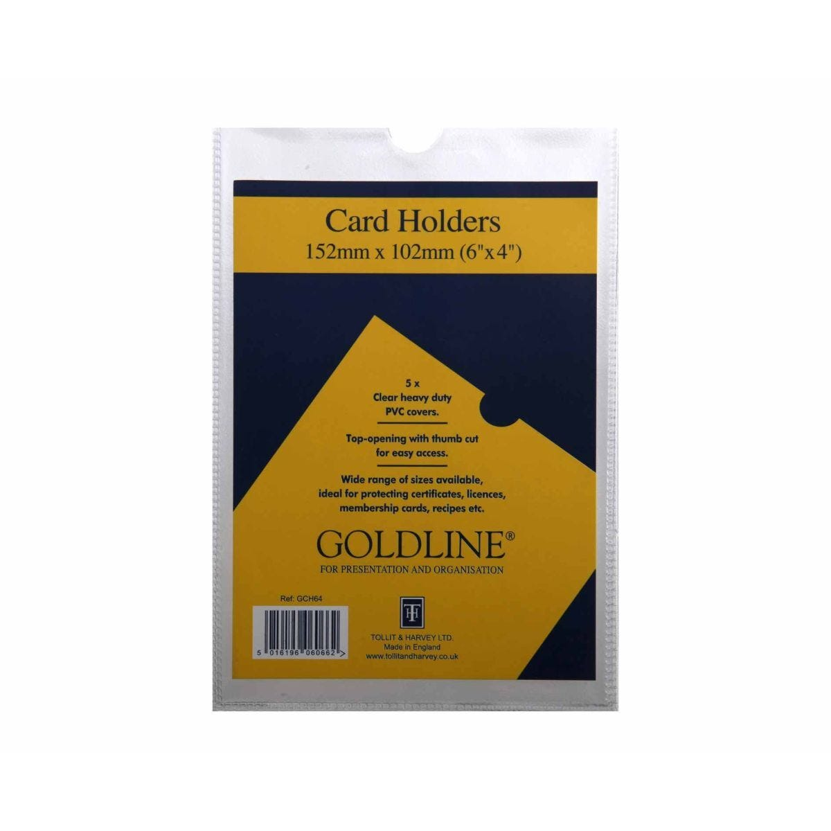 Goldline Card Holders 152x102mm