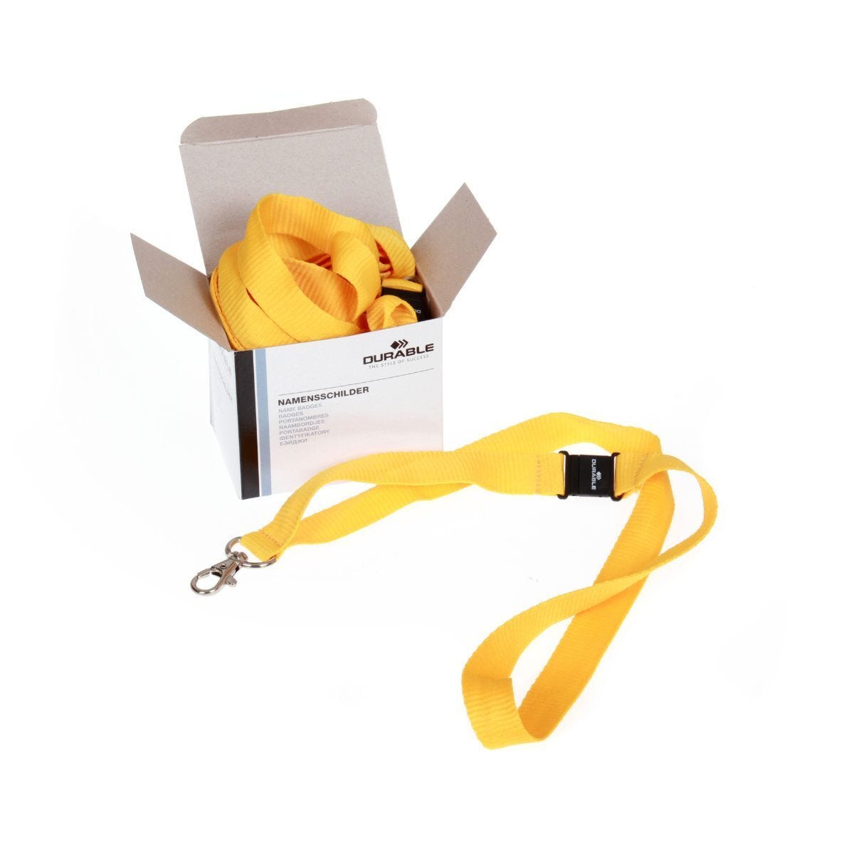 Durable Textile Lanyard Necklace 20mm For Badges Yellow