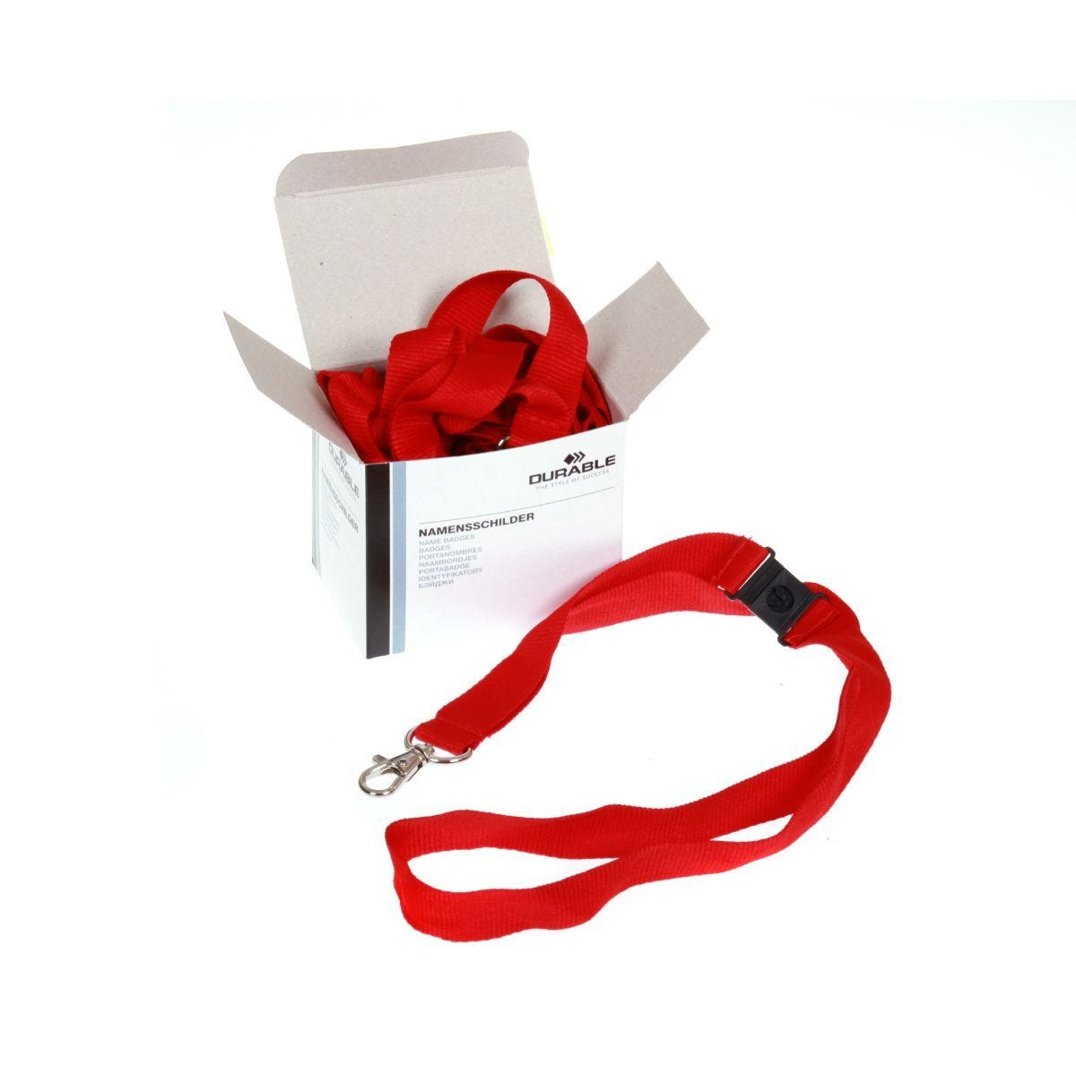 Durable Textile Lanyard Necklace 20mm For Badges Red