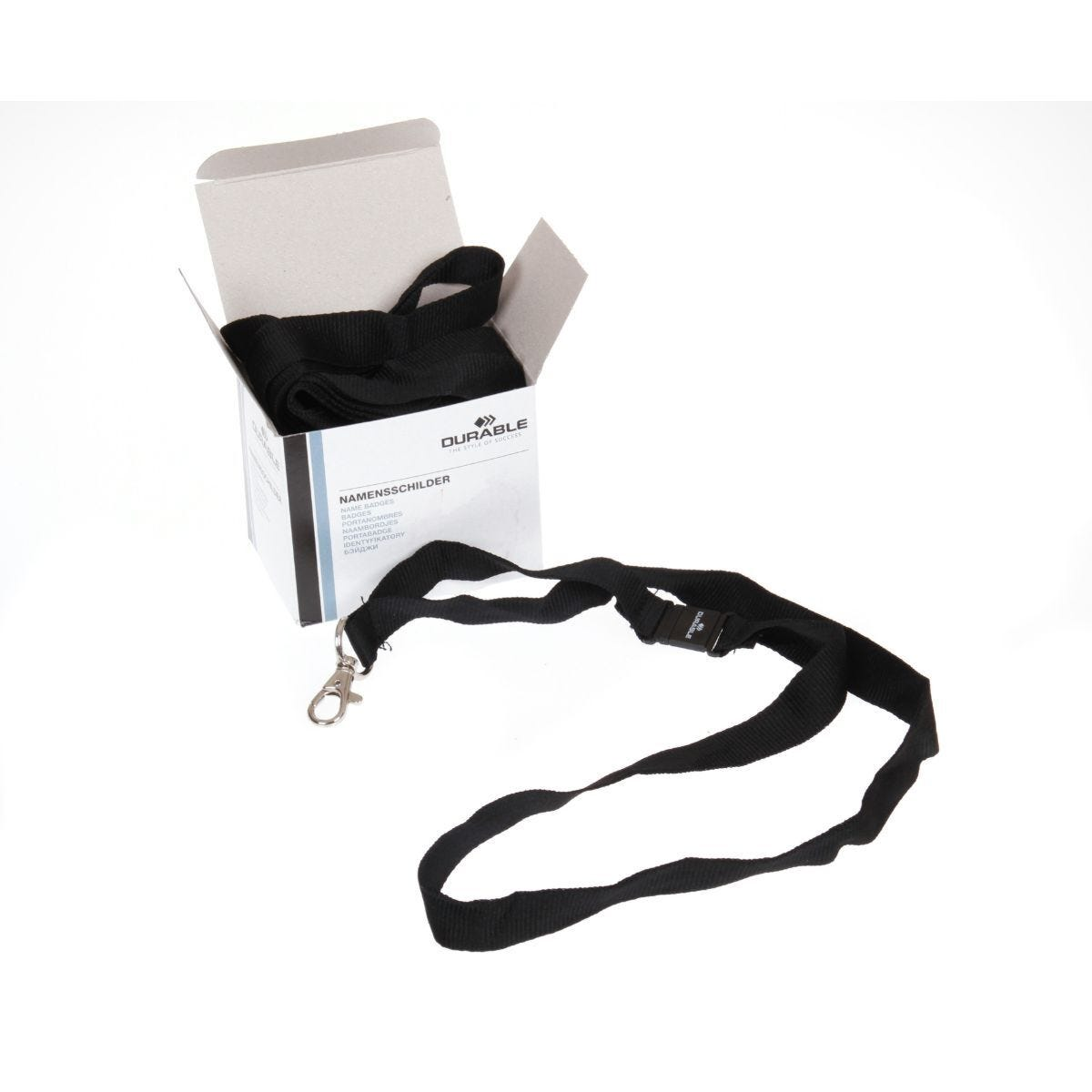 Durable Textile Lanyard Necklace 20mm For Badges Black