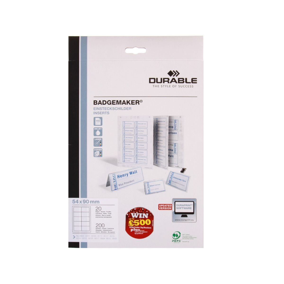 Durable Badge Inserts Microperforated A4 150gsm Pack of 200