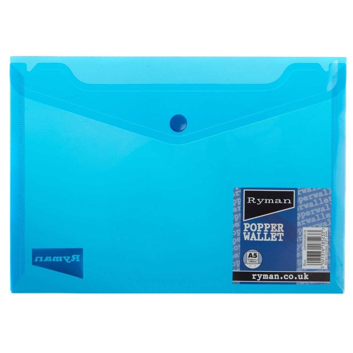 Ryman Popper File A5 Landscape Blue
