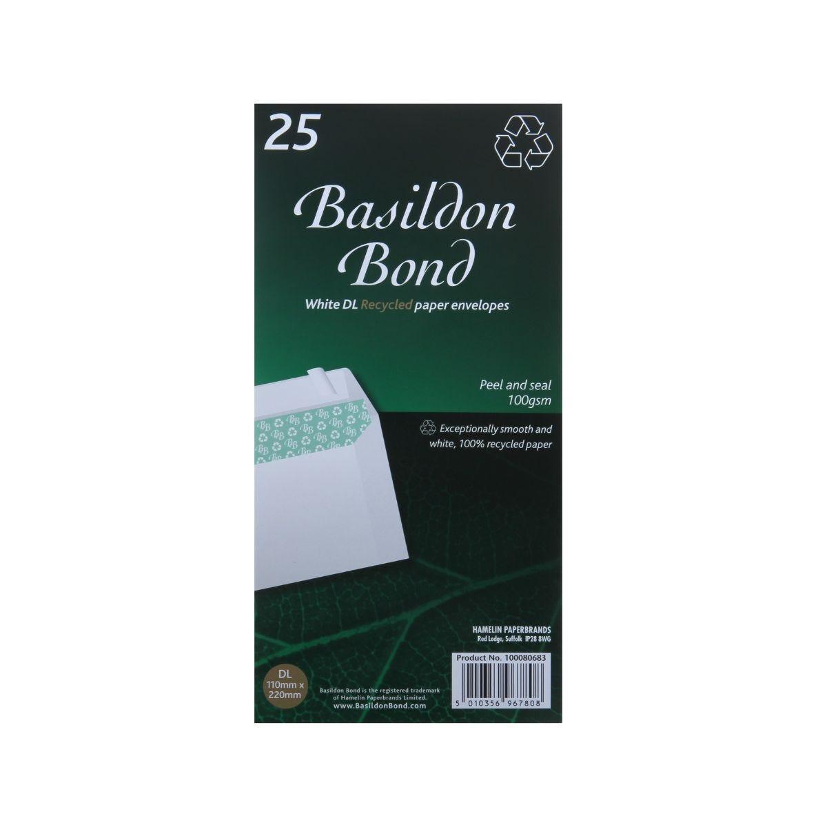 Basildon Bond Recycled Envelopes DL Pack of 25