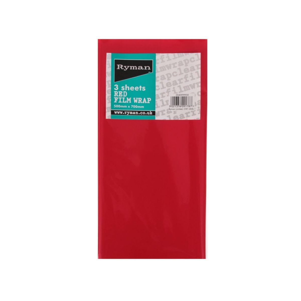 Ryman Cellophane 3 Sheet Red