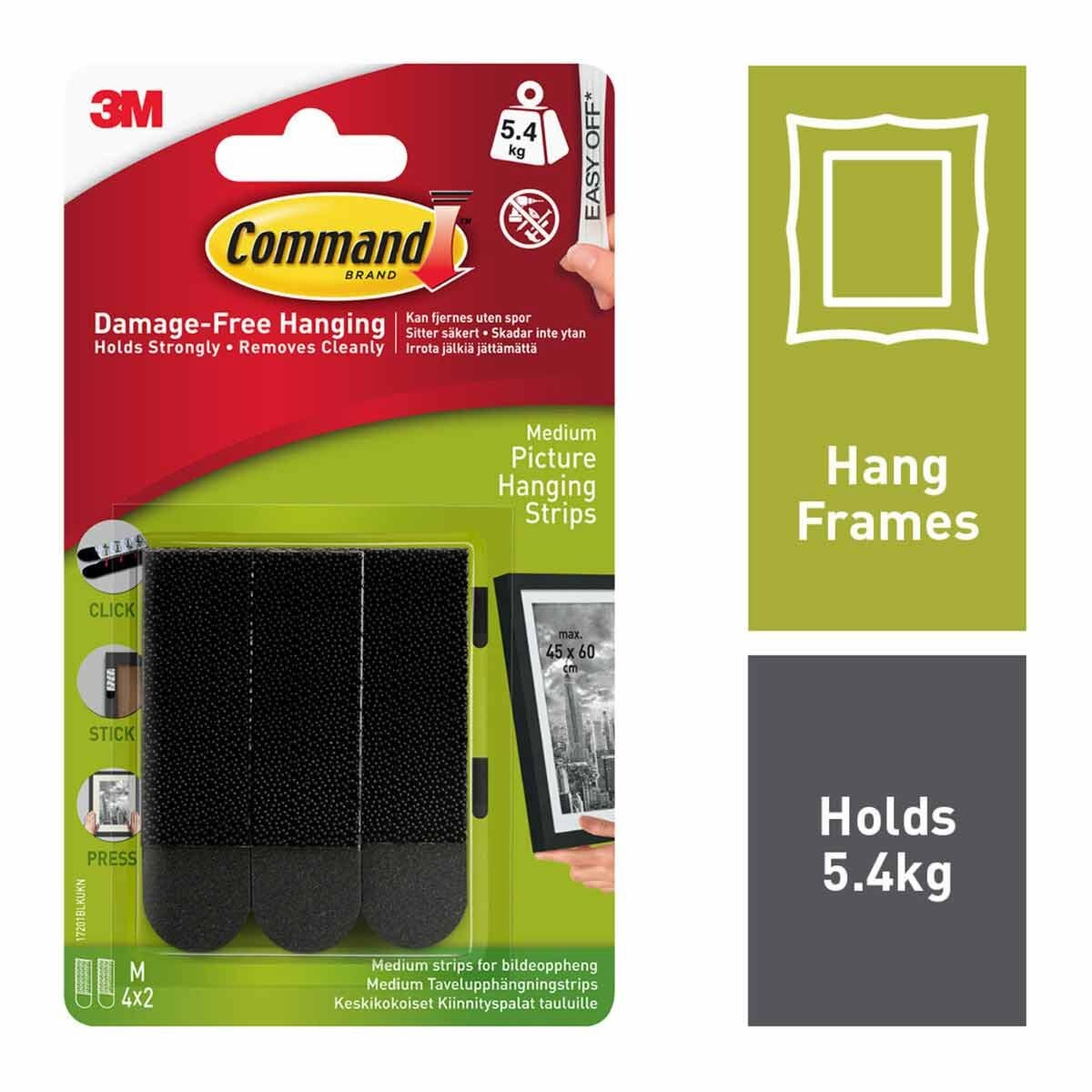 Command Picture Hanging Strips Med Pack of 4 17201 Black