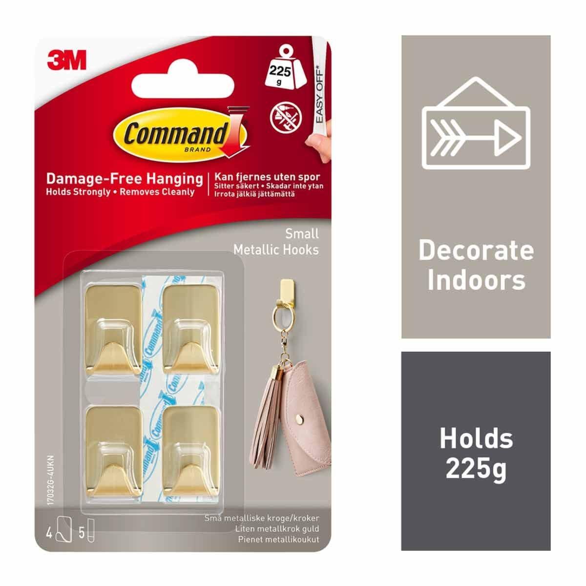 Command Metallic Hooks Small Pack of 4 Brass