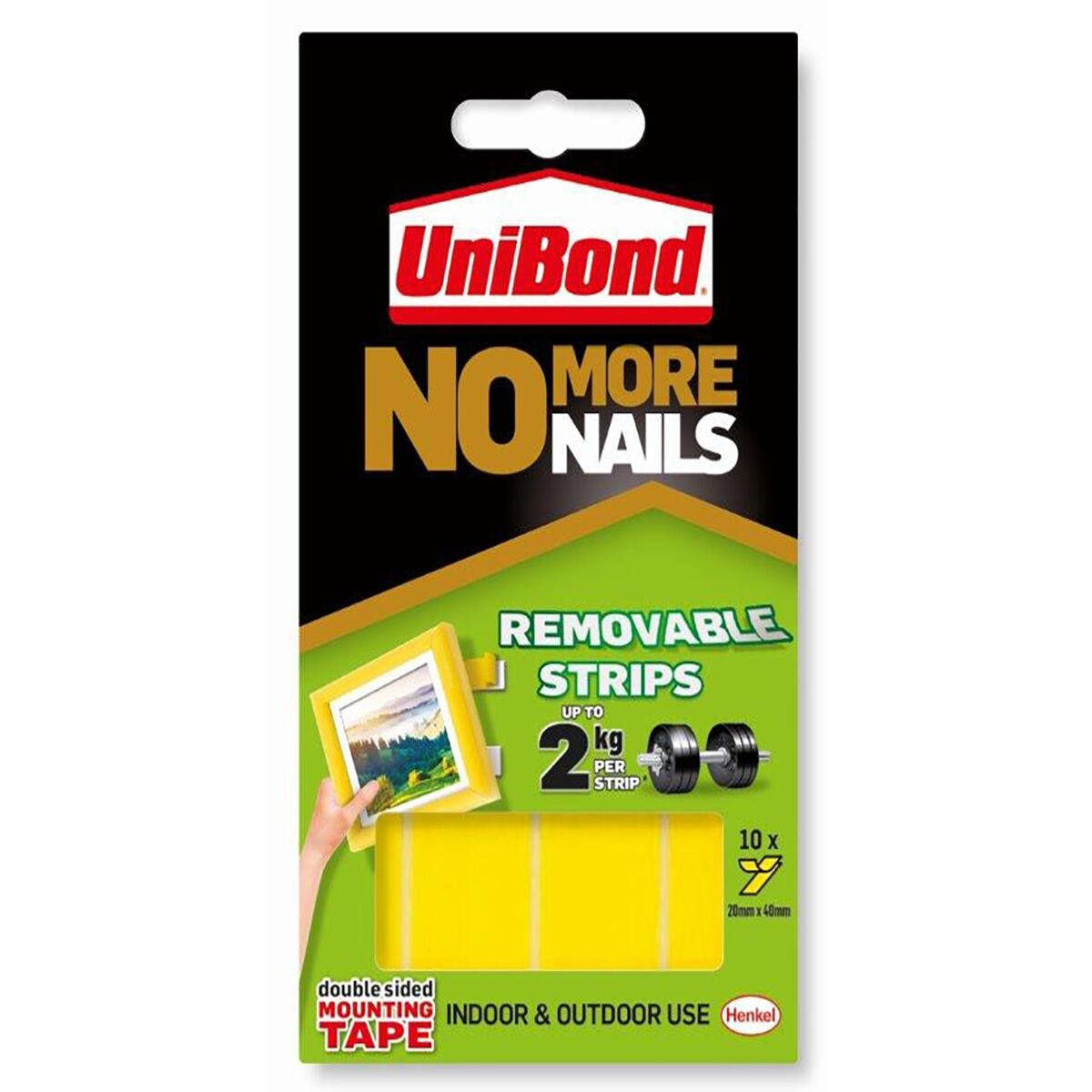 Unibond No More Nails Adhesive Removable Strips 20mm x 40mm Pack of 10