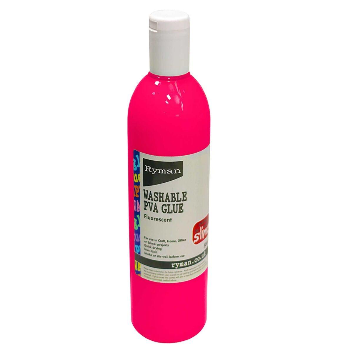 Ryman PVA Glue Washable Colour 500ml Pink