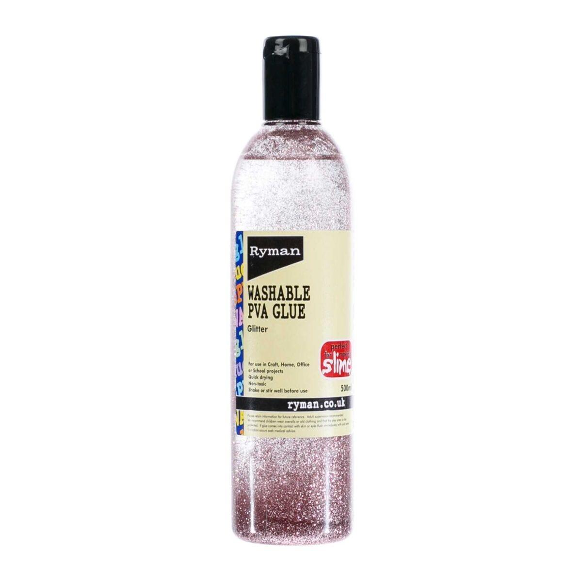 Ryman PVA Glue Washable Glitter 500ml Rose Pink