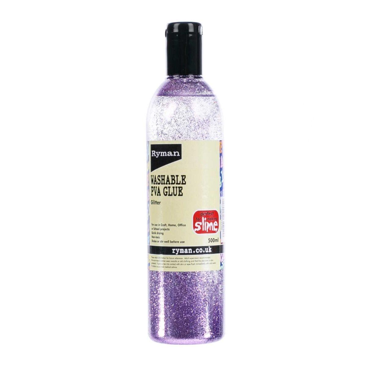 Ryman PVA Glue Washable Glitter 500ml Purple