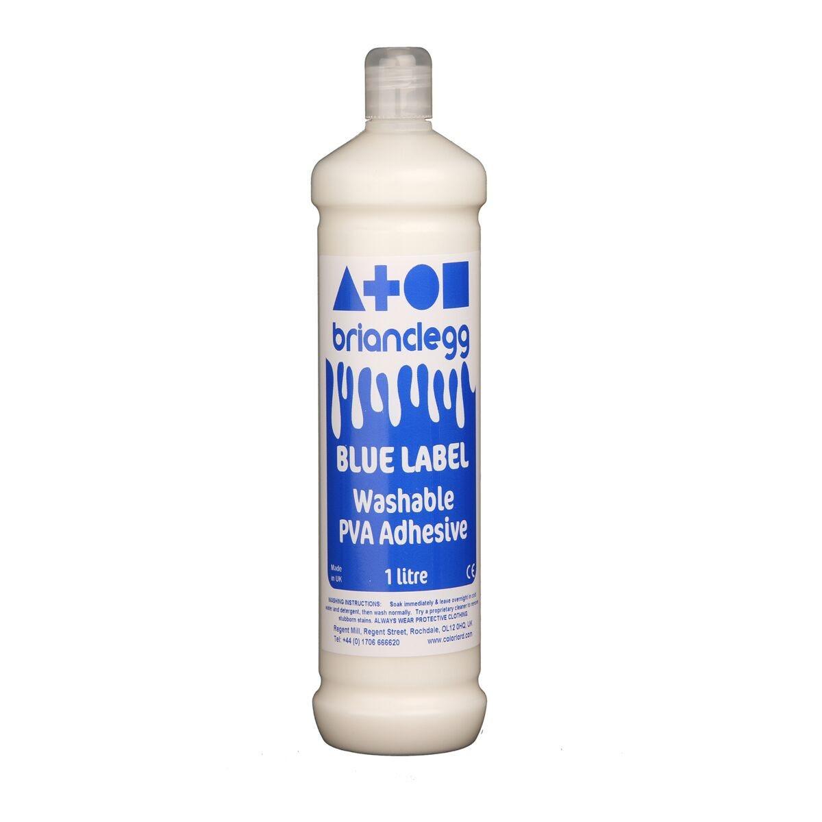 Blue Label Washable PVA Adhesive Glue 1L Bottle