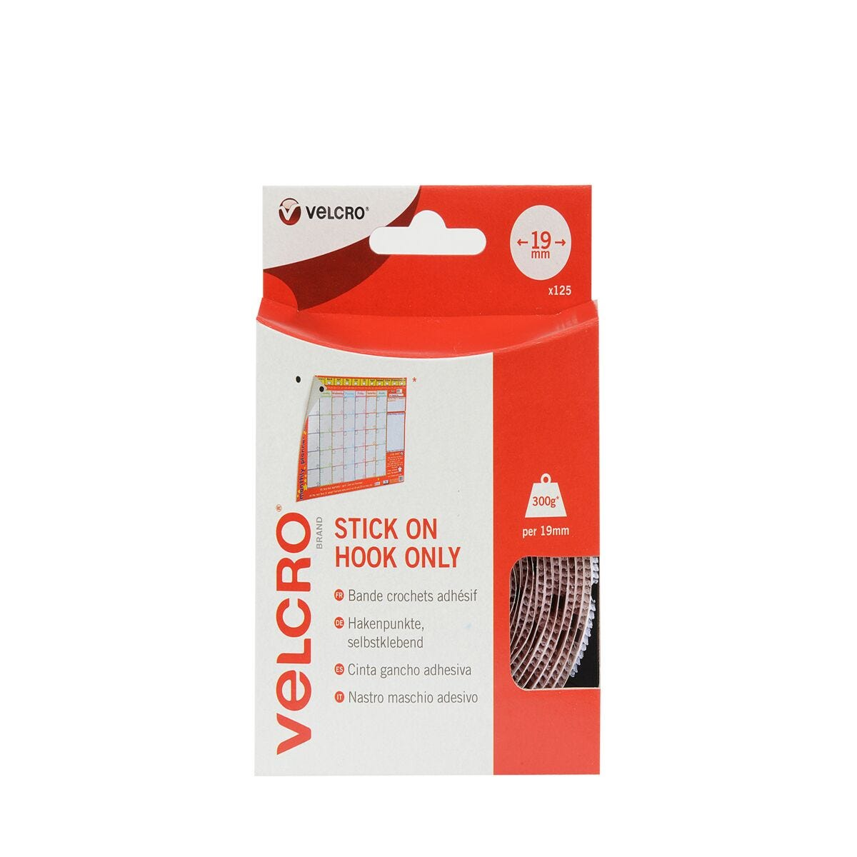 VELCRO Brand Stick On Coins Hook Only White