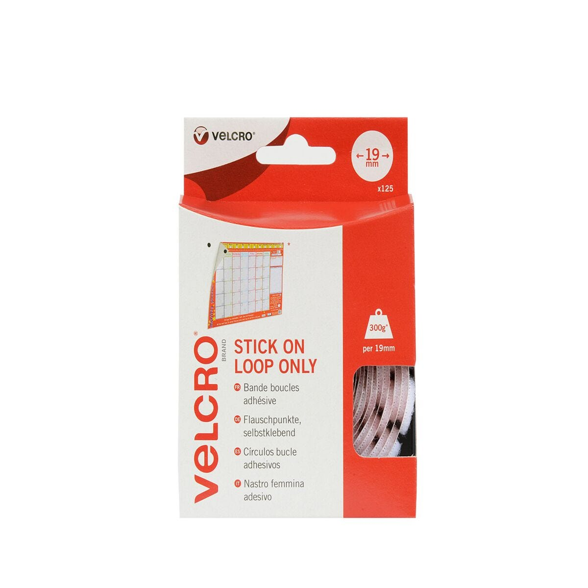 VELCRO Brand Stick On Coins Loop Only White
