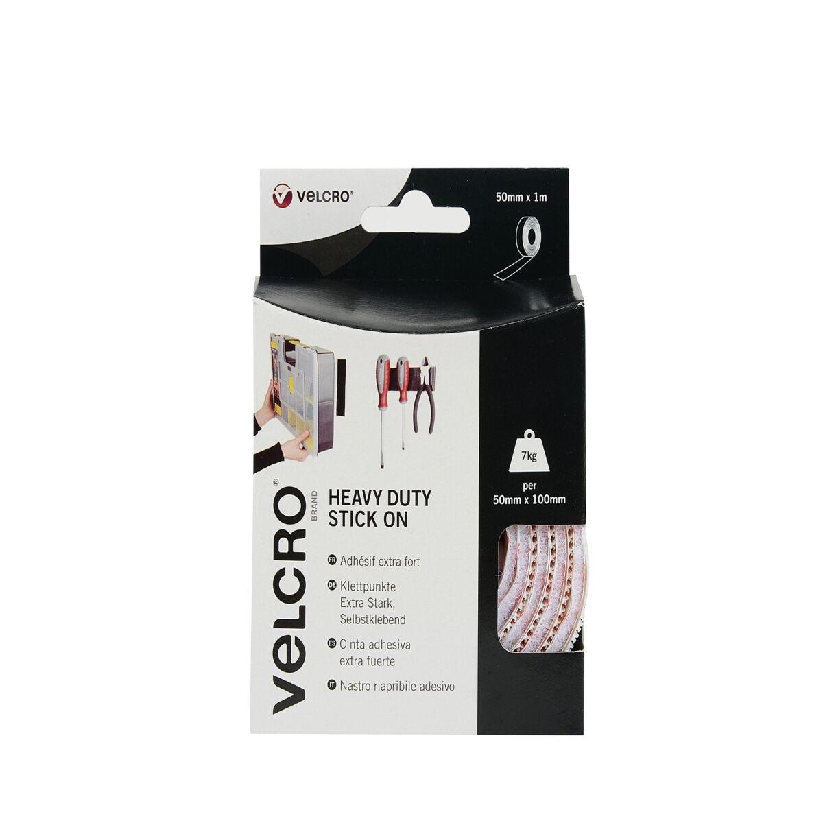 VELCRO Brand Heavy Duty Stick On 50mm x 1m White